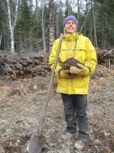 Anneli Carter-Sundqvist gets ready to plant the first apple tree in 2015. Photo by Dennis Carter