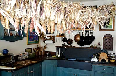 Flint corn hanging in the kitchen at the home of Michele Carmel and Albie Barden in Norridgewock, Maine