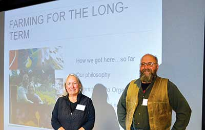 Barbara and Jason Kafka described their conservative methods of earning and saving money for retirement at MOFGA's 2018 Farmer to Farmer Conference