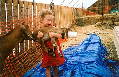Zoe with baby Nubian goat
