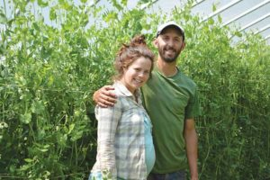 Noami Brautigam and James Gagne with their 'Super Sugar Snap' peas at Dickey Hill Farm. Jean English photo