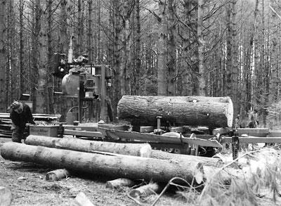 Nick Zanstra with portable sawmill