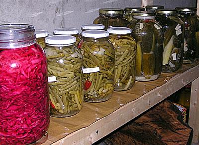 Sauerkraut, beans and pickles