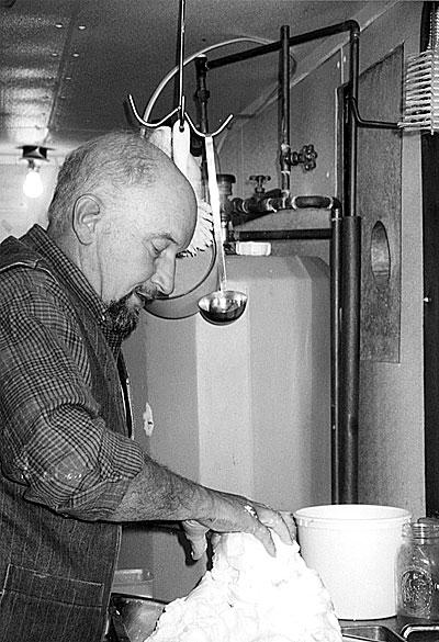 Larry Perron making butter