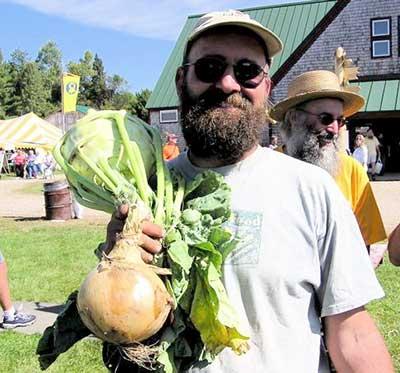 Organic farmer Jason Kafka grew this onion and kohlrabi from seed. Jean English photo