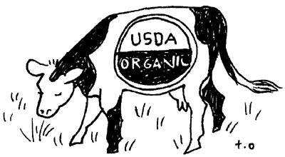 Organic cow illustration by Toki Oshima