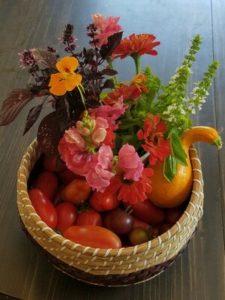 "Flower and vegetable arrangement titled ""Basil Bounty Basket"" by Erica Haywood"