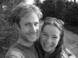 Jennifer Albee and husband Hans black and white photo