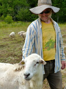 Paul Volckhausen with sheep