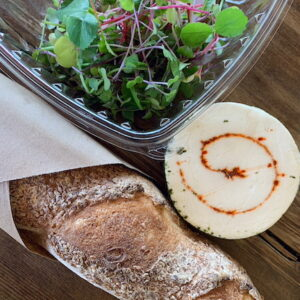 Bread, cheese and microgreens