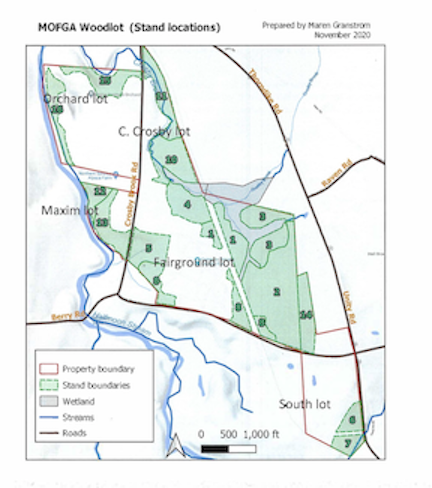 A map of the woodlot at the Common Ground Education Center in Unity