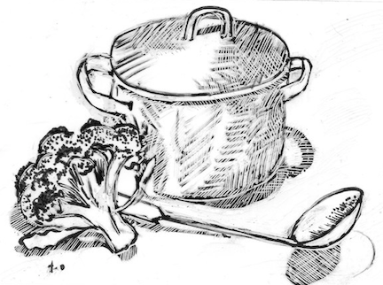 Illustration of broccoli soup in pot with ladle