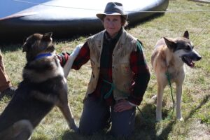Polly Mahoney with sled dogs